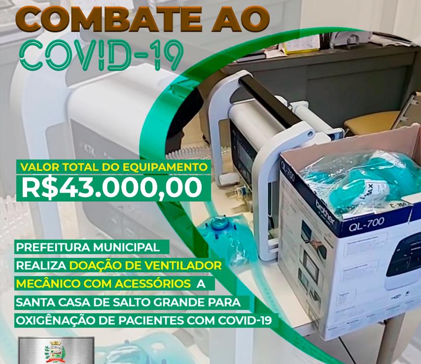 Administração municipal adquire novo respirador que será utilizado pela Santa Casa de Salto Grande